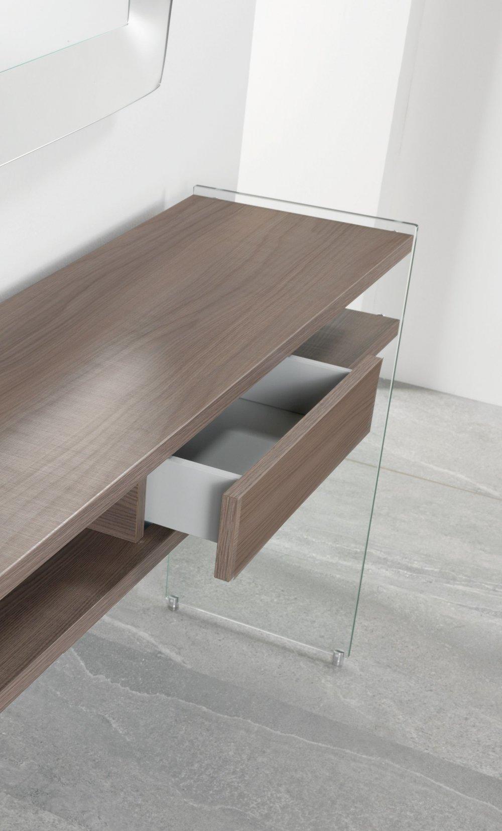 console design ultra tendance au meilleur prix console marion coloris orme pi tement en verre. Black Bedroom Furniture Sets. Home Design Ideas