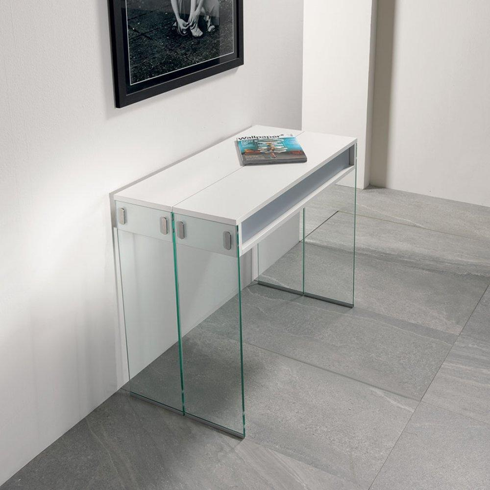 Table console extensible STEF XL blanc mat piétement en verre