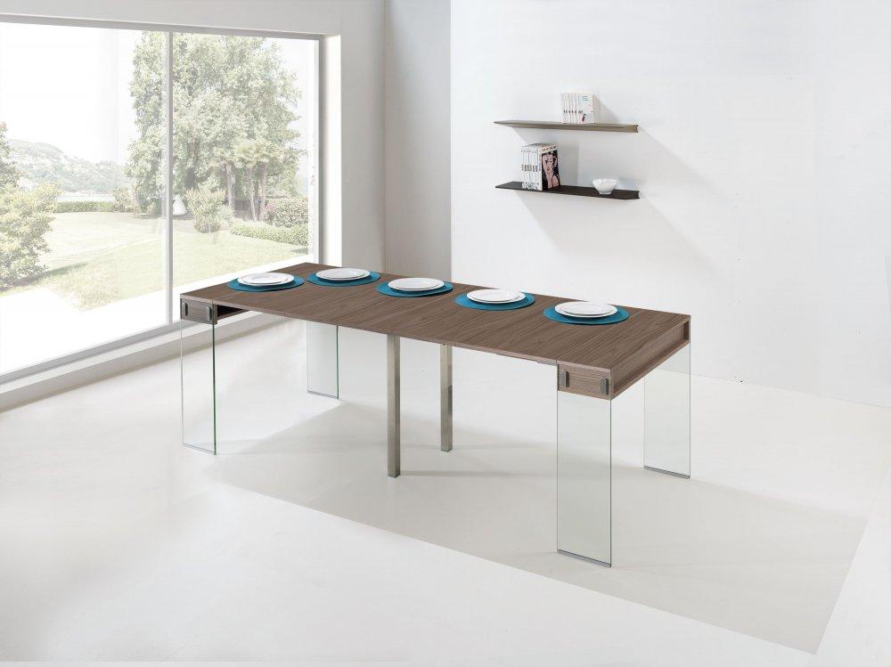 canap convertible au meilleur prix console extensible stef coloris noyer pi tement en verre. Black Bedroom Furniture Sets. Home Design Ideas