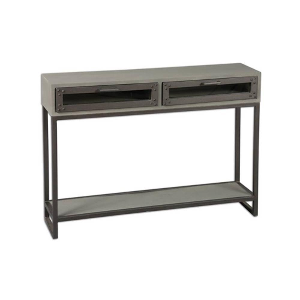 console design ultra tendance au meilleur prix console industry c rus gris avec 2 tiroirs. Black Bedroom Furniture Sets. Home Design Ideas