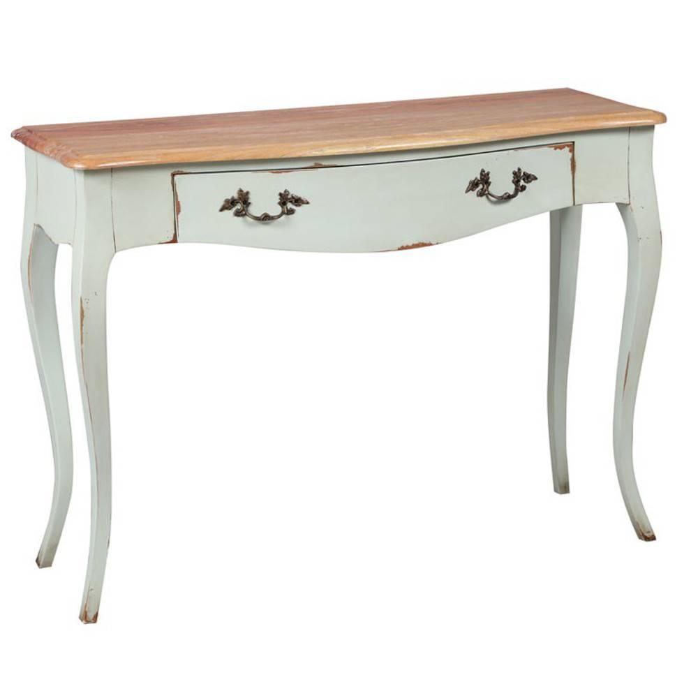 consoles meubles et rangements console louise en bois massif de style r gence 1 tiroir inside75. Black Bedroom Furniture Sets. Home Design Ideas