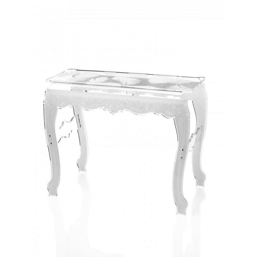console design ultra tendance au meilleur prix acrila console plume blanc plexi design inside75. Black Bedroom Furniture Sets. Home Design Ideas