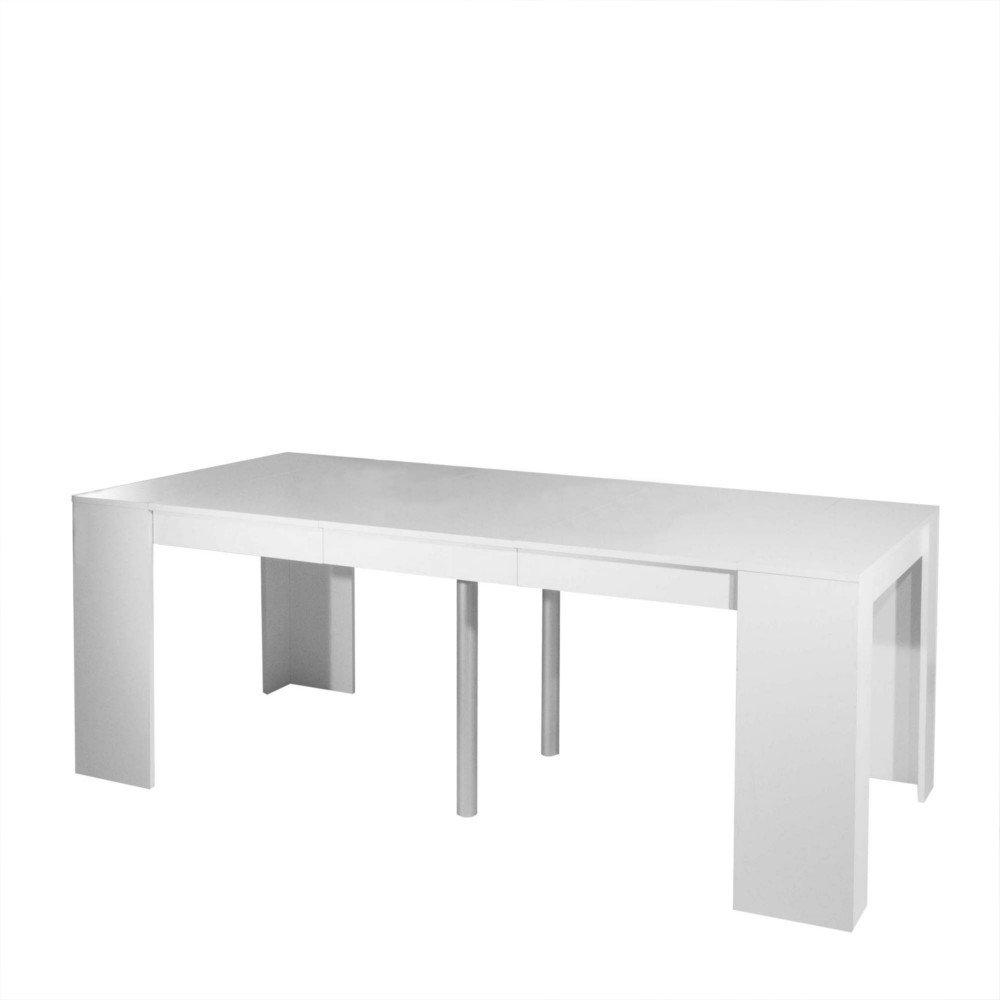 Console elasto blanc mat extensible en table repas for Table murale rabattable conforama