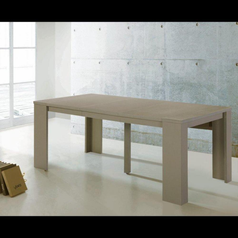 canap s convertibles ouverture rapido console extensible en table repas elasto taupe inside75. Black Bedroom Furniture Sets. Home Design Ideas