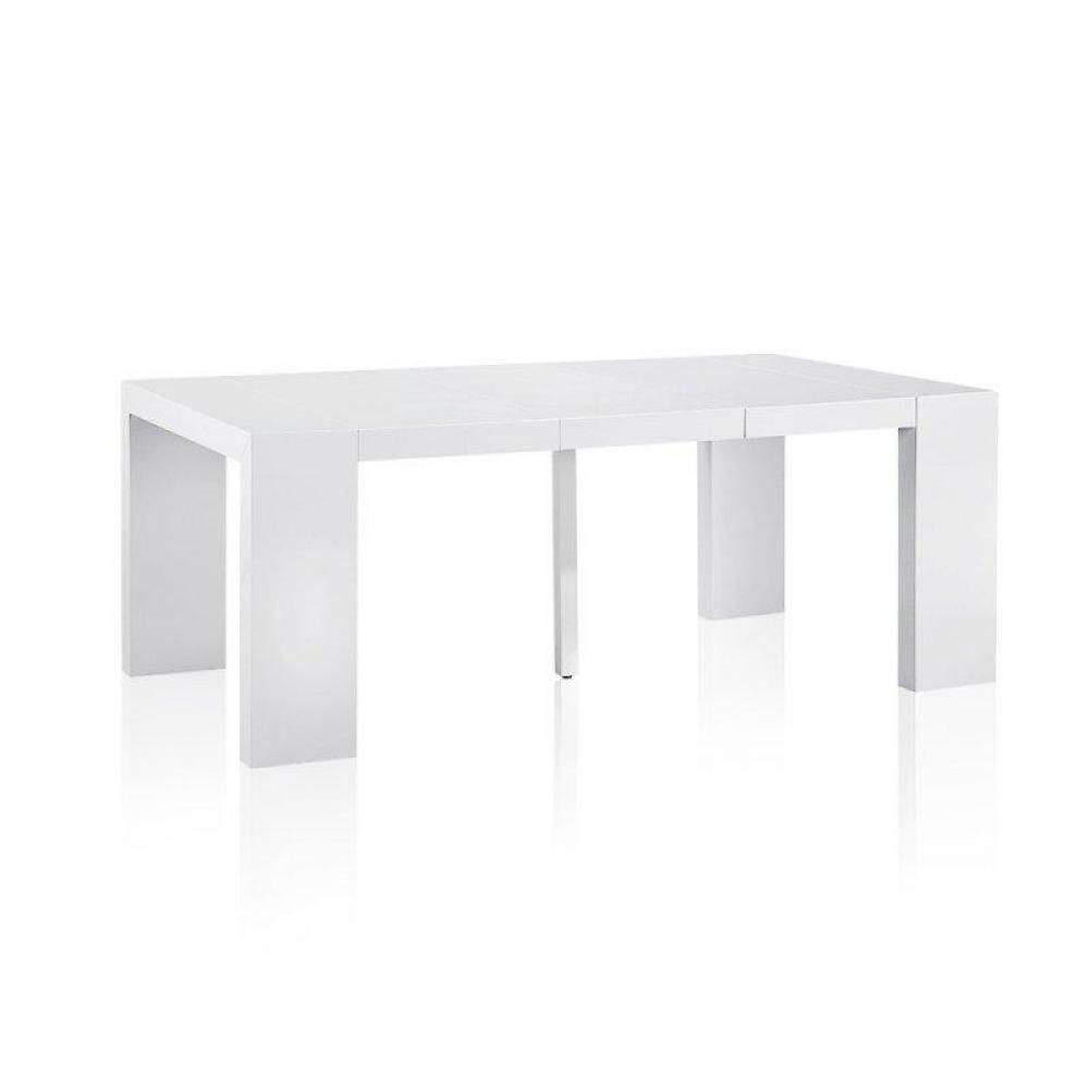 bureaux meubles et rangements console extensible illusion laqu blanc brillant inside75. Black Bedroom Furniture Sets. Home Design Ideas