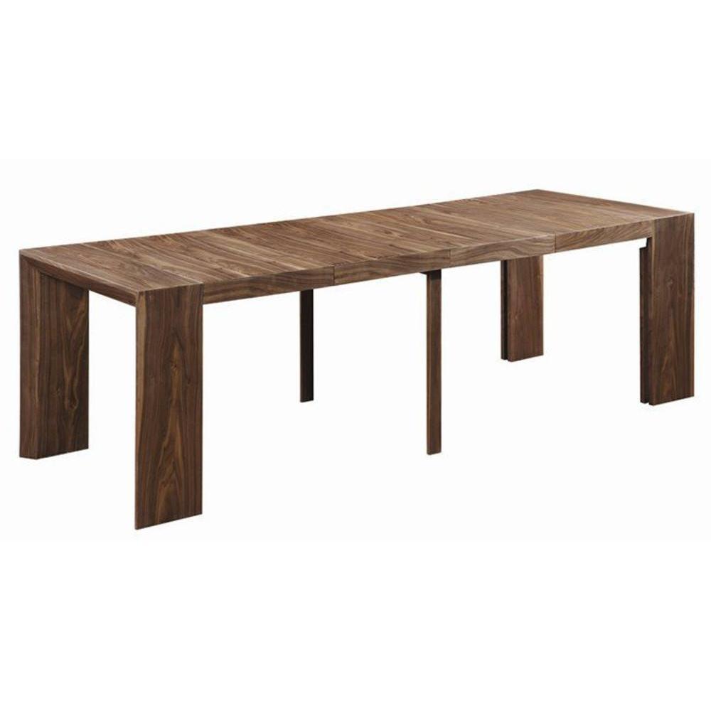 Console extensible en table repas EXTENSO DELUXE bois noyer, 12 couverts.
