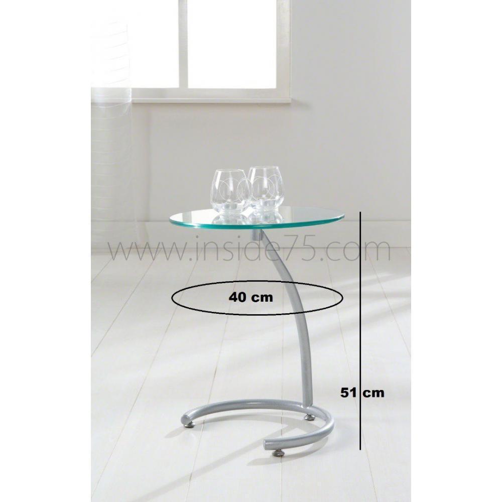 Sellettes gueridons meubles et rangements courbes bout - Bout de verre dans le pied ...