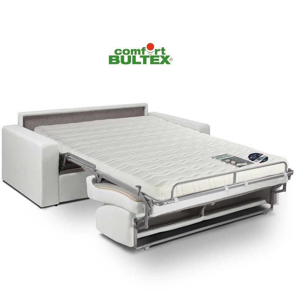 Canapé convertible rapido CRÉPUSCULE matelas 120cm comfort BULTEX® revêtement polyuréthane blanc