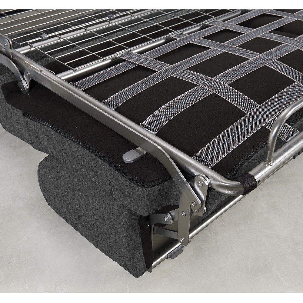 Canapé convertible express CRÉPUSCULE matelas 120cm comfort BULTEX® simili PUgris graphite
