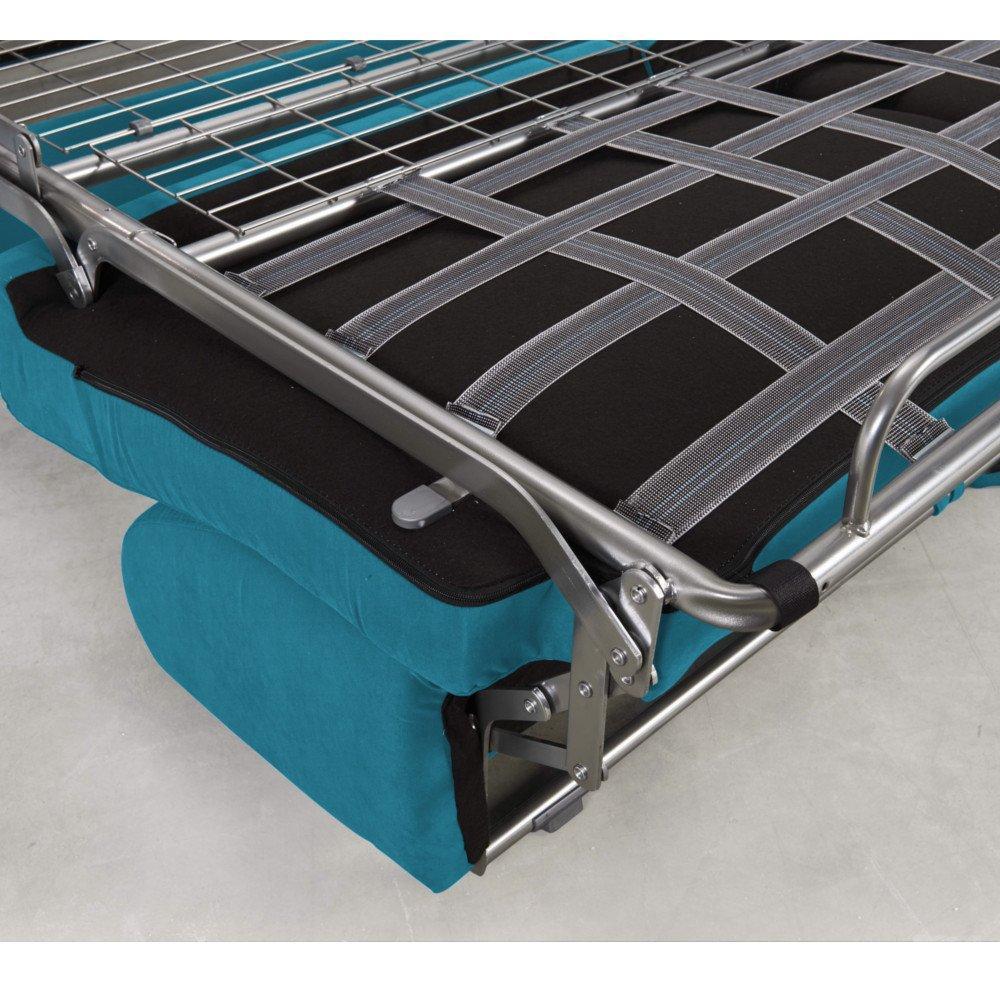 Canapé convertible rapido CRÉPUSCULE matelas 120cm comfort BULTEX® tissu tweed bleu turquoise