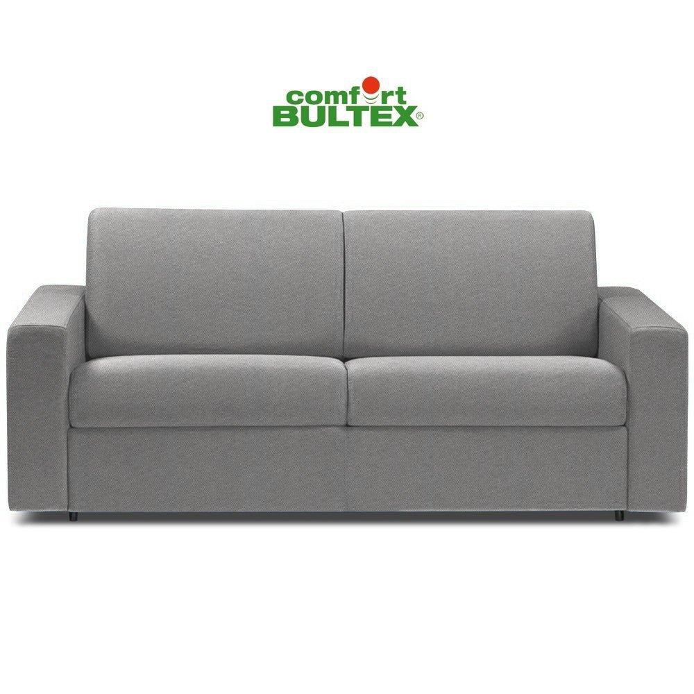 Canapé convertible rapido CRÉPUSCULE matelas 120cm comfort BULTEX® tissu tweed gris clair