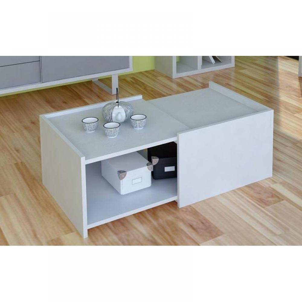 table basse blanc laque avec rangement maison design. Black Bedroom Furniture Sets. Home Design Ideas