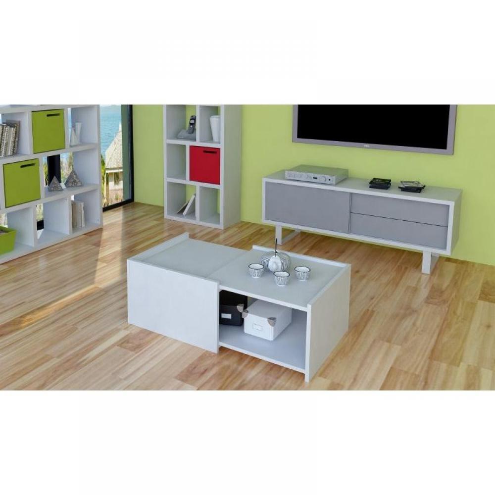 Tables basses meubles et rangements cube coffee table - Table basse blanc laque avec rangement ...