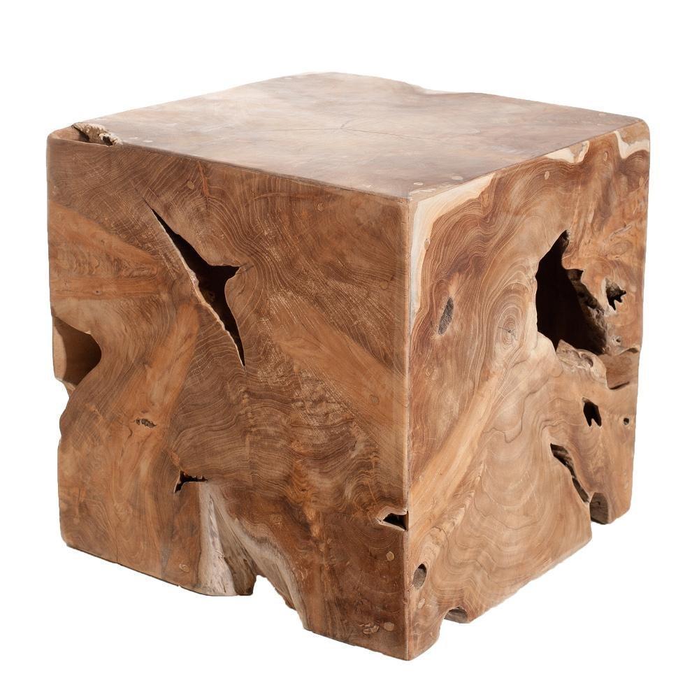bouts de canapes tables et chaises cube wally en teck massif inside75. Black Bedroom Furniture Sets. Home Design Ideas