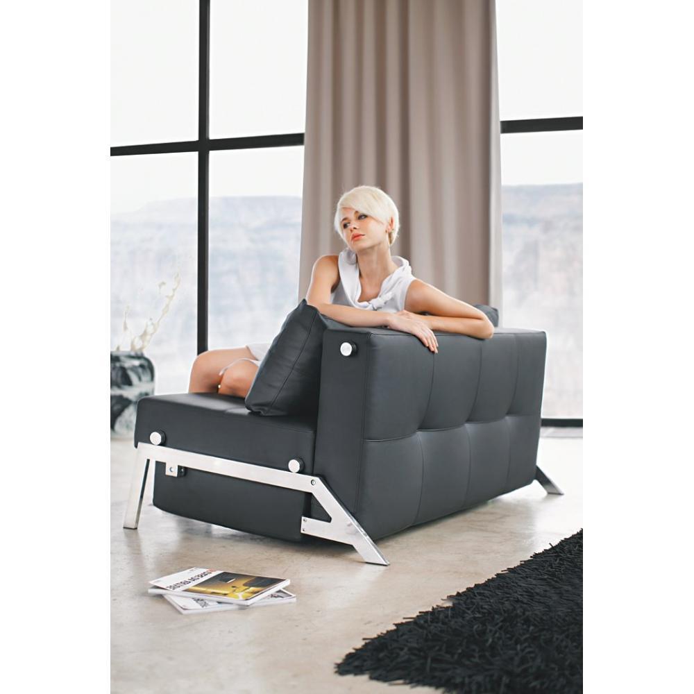 canap convertible au meilleur prix canap lit design cubed 02 chrome leather look black. Black Bedroom Furniture Sets. Home Design Ideas