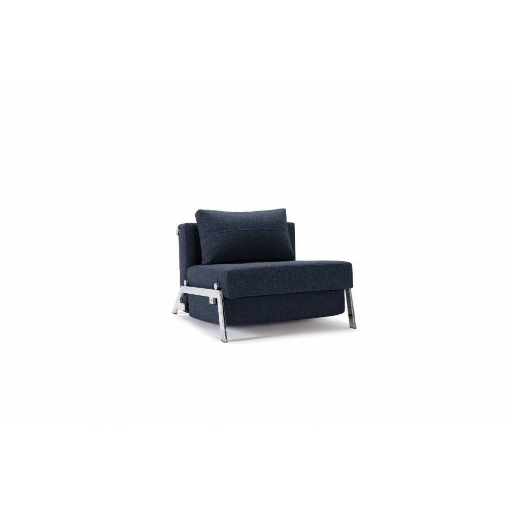 INNOVATION LIVING  Fauteuil design SOFABED CUBED 02 CHROME Mixed Dance Blue convertible lit 200*96 cm