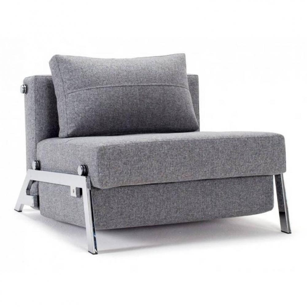 INNOVATION LIVING  Fauteuil design SOFABED CUBED 02 CHROME Twist Granite convertible lit 200*90 cm