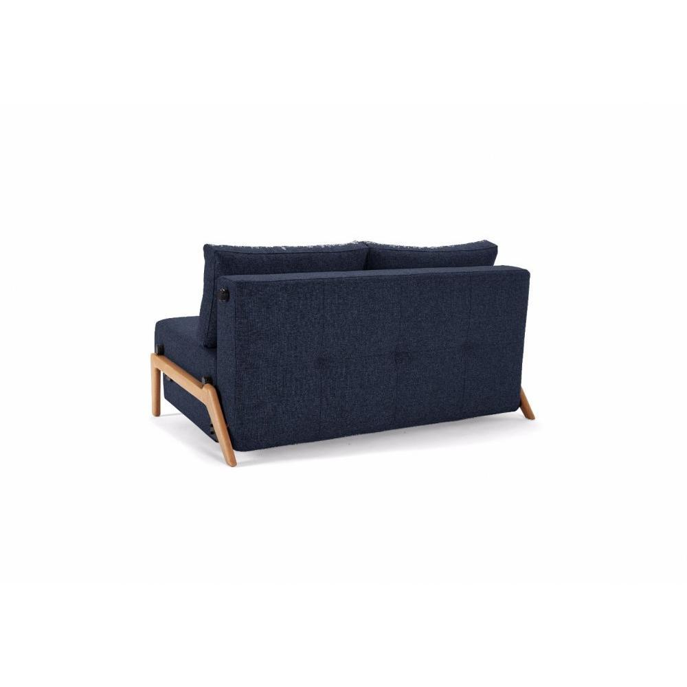 INNOVATION LIVING  Canapé design CUBED 02 WOOD convertible lit 200*140 cm tissu Mixed Dance Blue