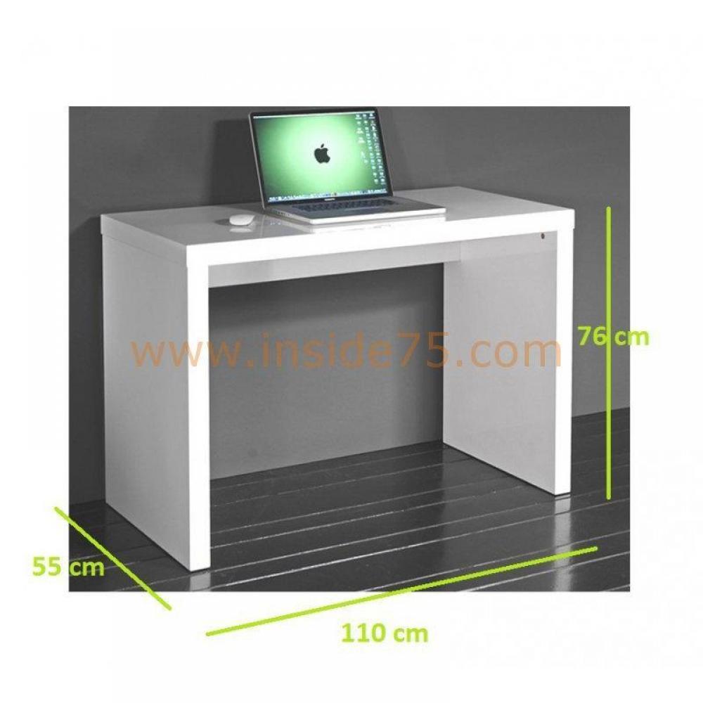 meubles de bureau meubles et rangements cubic bureau laqu blanc brillant inside75. Black Bedroom Furniture Sets. Home Design Ideas