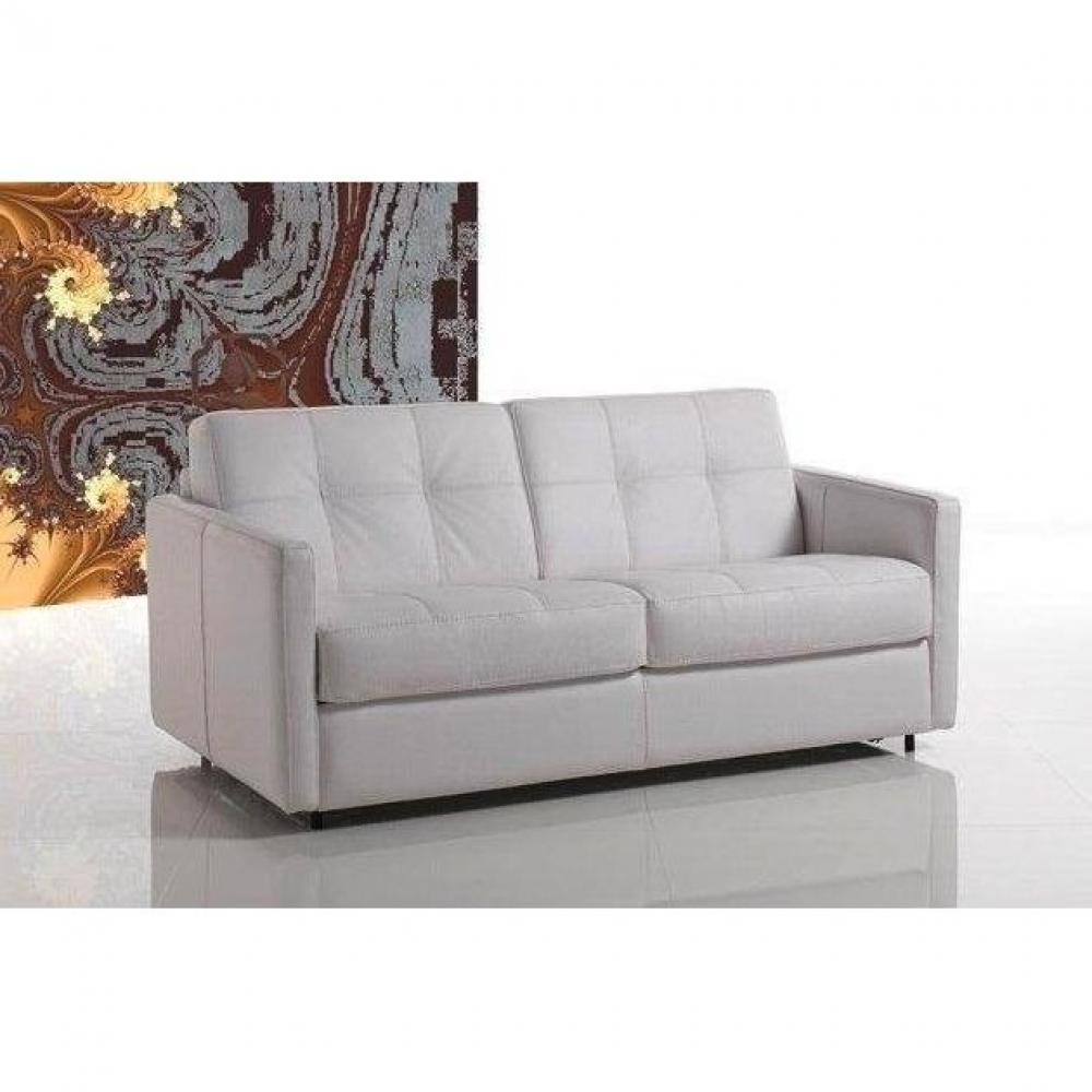 Canapé lit CUBE OUVERTURE EXPRESS convertible 120*190*14cm, cuir vachette blanc, COUCHAGE QUOTIDIEN