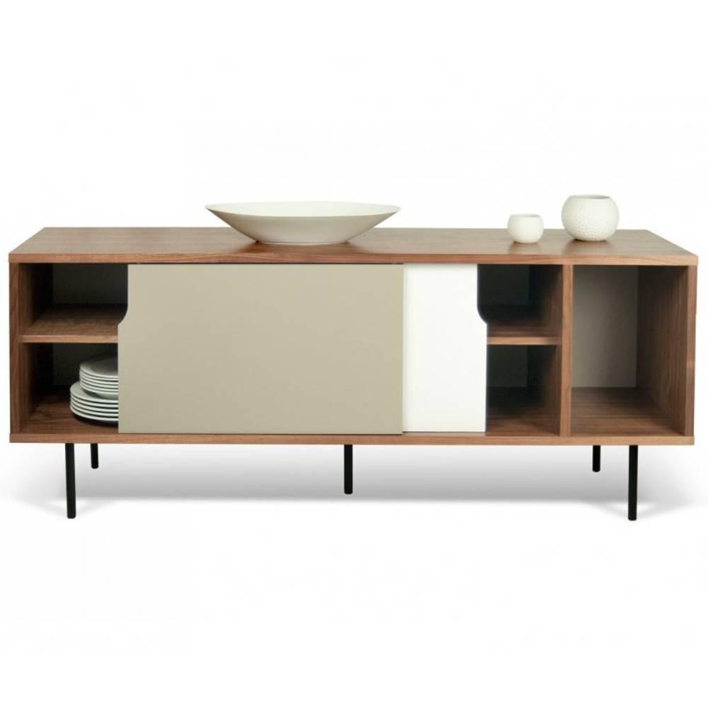 buffets bas meubles et rangements dann buffet design noyer avec 2 portes grise et blanche. Black Bedroom Furniture Sets. Home Design Ideas