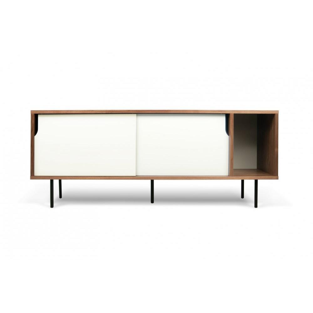 buffets meubles et rangements dann buffet design noyer avec 2 portes coulissantes blanches. Black Bedroom Furniture Sets. Home Design Ideas