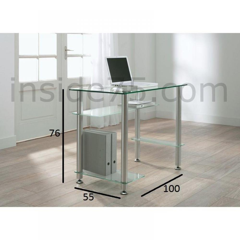 bureaux meubles et rangements little desk bureau 4 plateaux verre transparent inside75. Black Bedroom Furniture Sets. Home Design Ideas