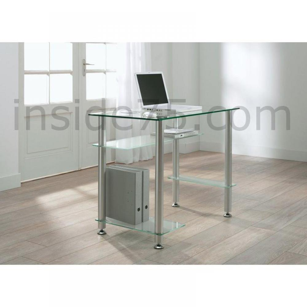 bureaux meubles et rangements little desk bureau verre transparent 4 plateaux inside75. Black Bedroom Furniture Sets. Home Design Ideas
