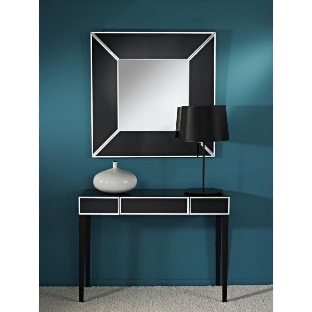 console design ultra tendance au meilleur prix diamant ensemble console et miroir en verre noir. Black Bedroom Furniture Sets. Home Design Ideas