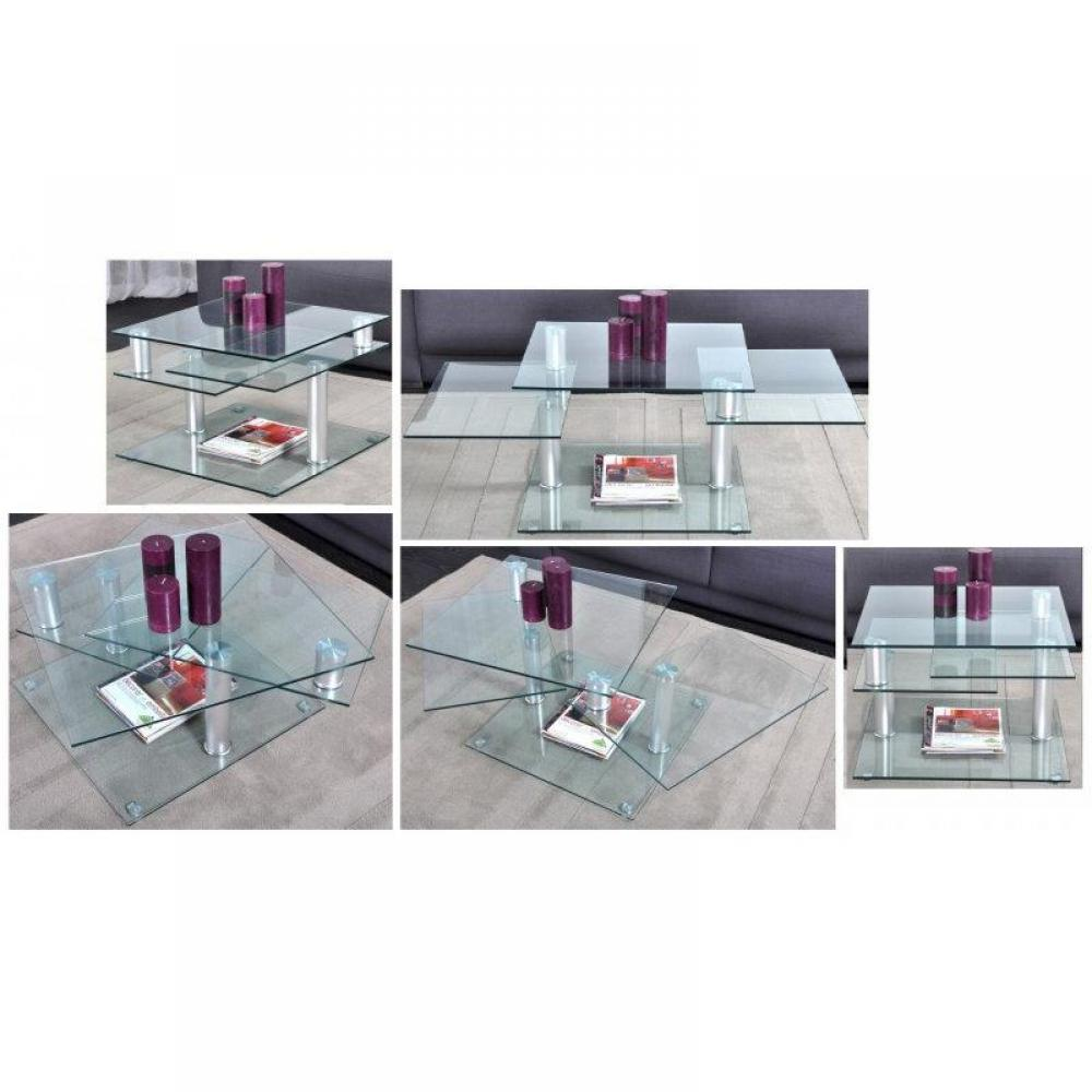 Table basse carr e ronde ou rectangulaire au meilleur prix diana table bass - Table basse verre modulable ...