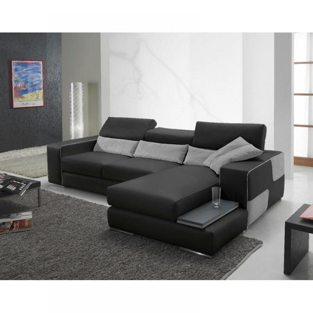 canap d 39 angle moderne et classique au meilleur prix domino canap cuir vachette couleur noir. Black Bedroom Furniture Sets. Home Design Ideas