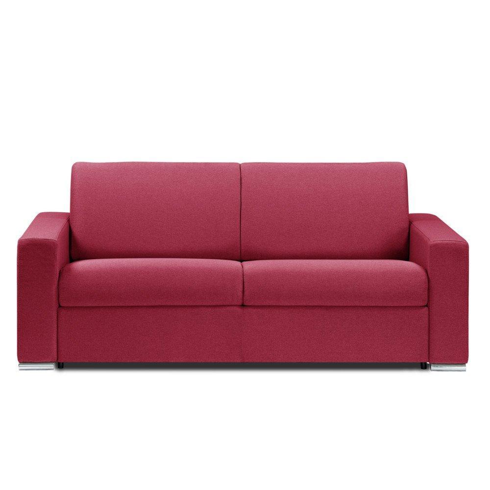 Canapé droit 3 places Rouge Tissu Confort