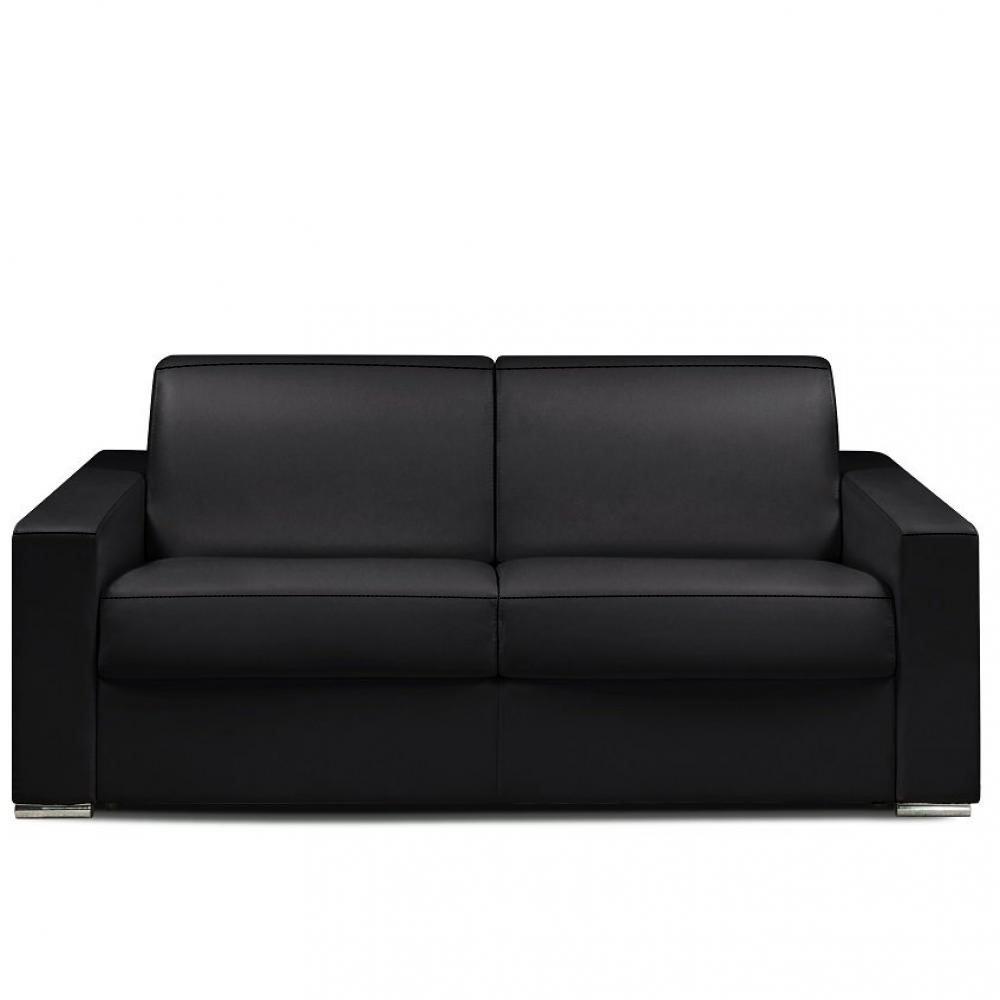 Canapé express 140 cm DREAMER EDITION Cuir et PU Cayenne noir matelas 16 cm