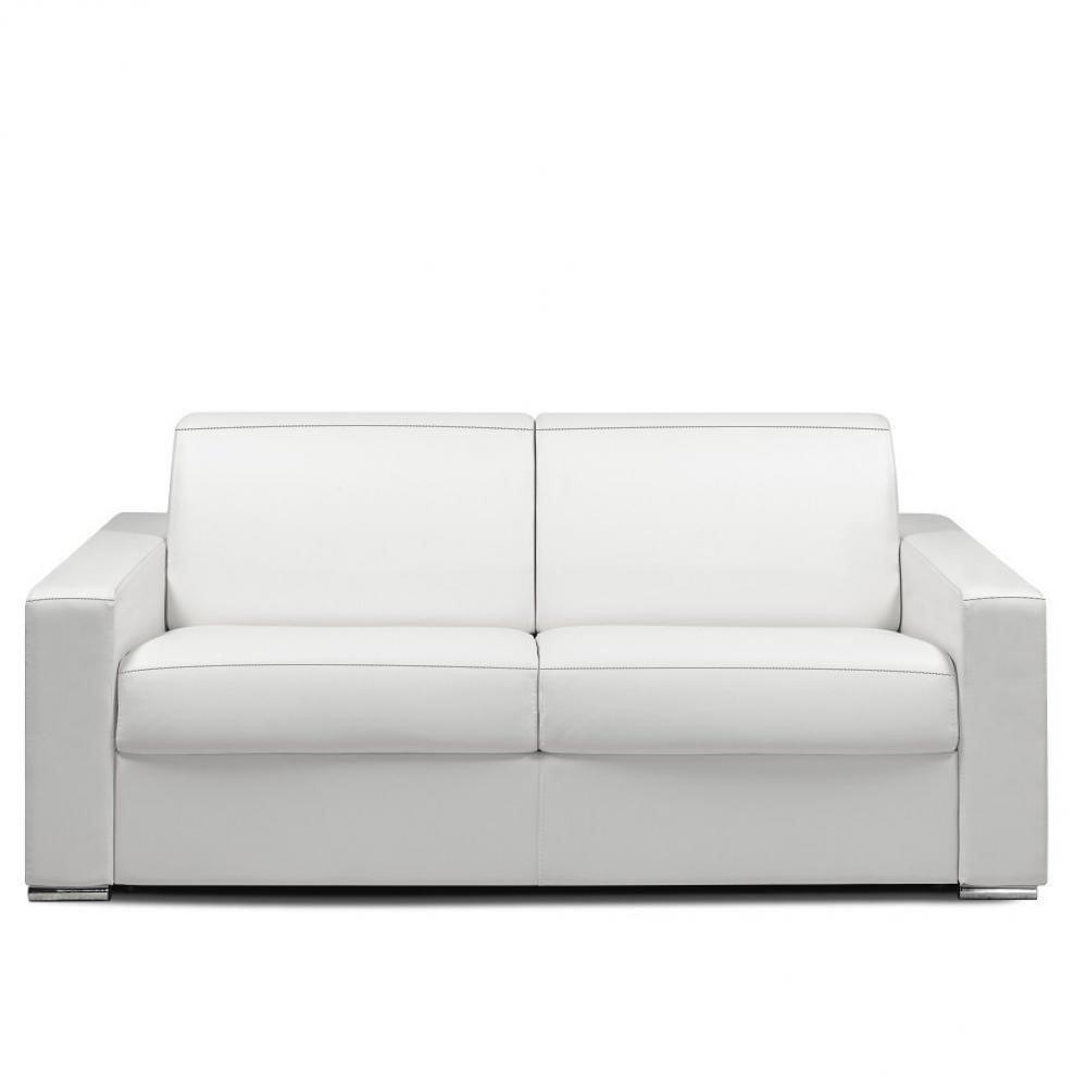 Canapé express 160 cm DREAMER EDITION Cuir et PU Cayenne blanc matelas 16 cm
