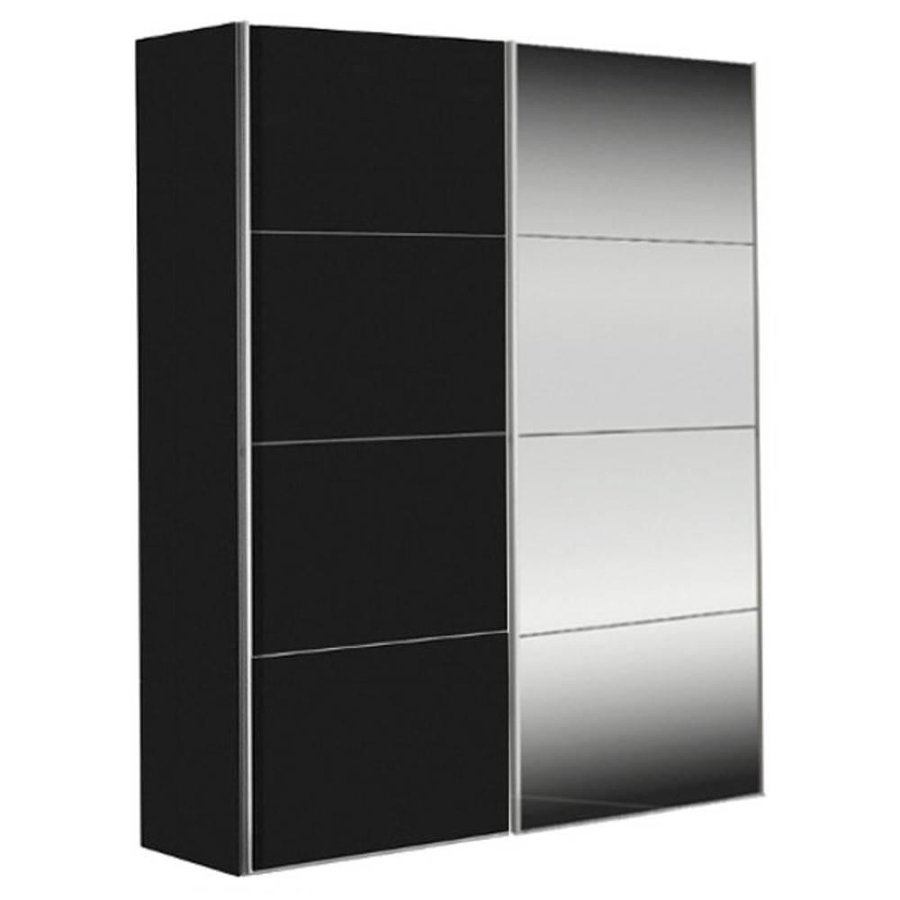 dressings et armoires chambre literie dressing kick 152cm avec melamin noir mat et miroir. Black Bedroom Furniture Sets. Home Design Ideas