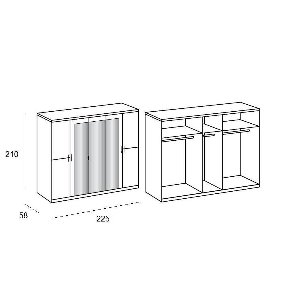 Armoire CARAMELLA 225cm à portes battantes coloris chêne blanc avec 3 miroirs
