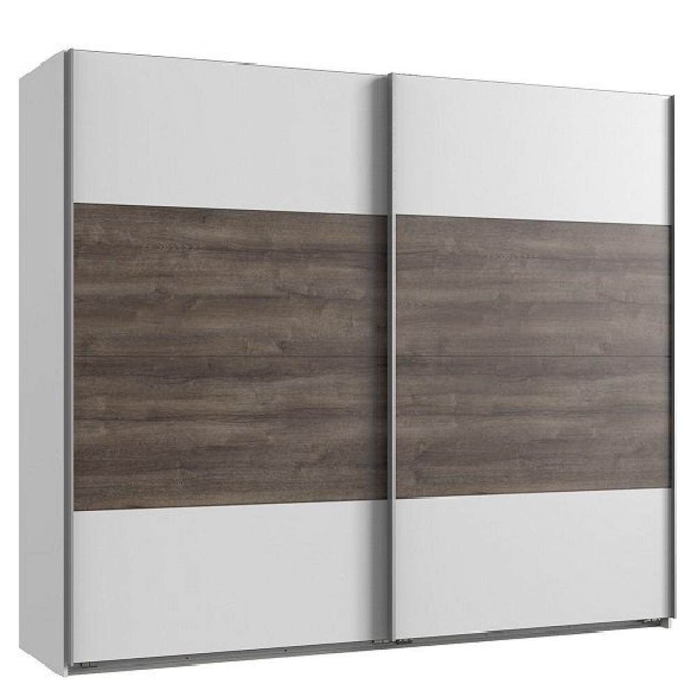 Armoire EVA portes coulissantes largeur 225 cm blanc / chêne châtaigne