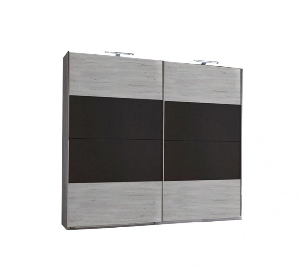 Armoire EVA portes coulissantes largeur 225 cm chêne blanchi / graphite