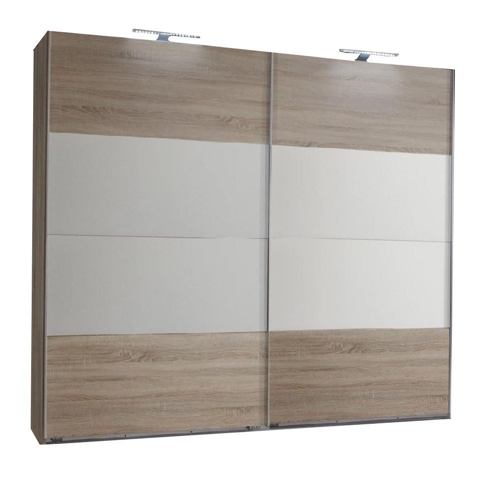 Armoire EVA portes coulissantes largeur 225 cm chêne clair / blanc