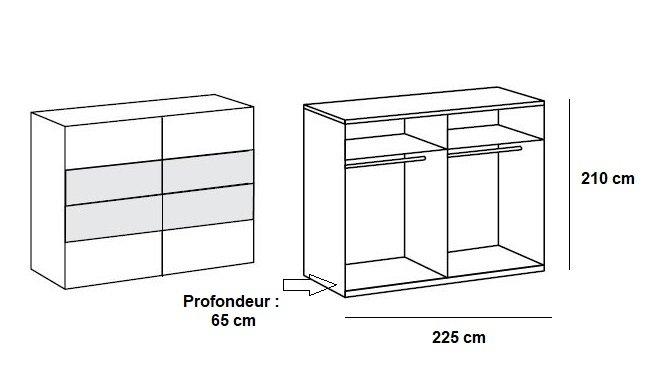 Armoire EVA portes coulissantes largeur 225 cm graphite / chêne châtaigne