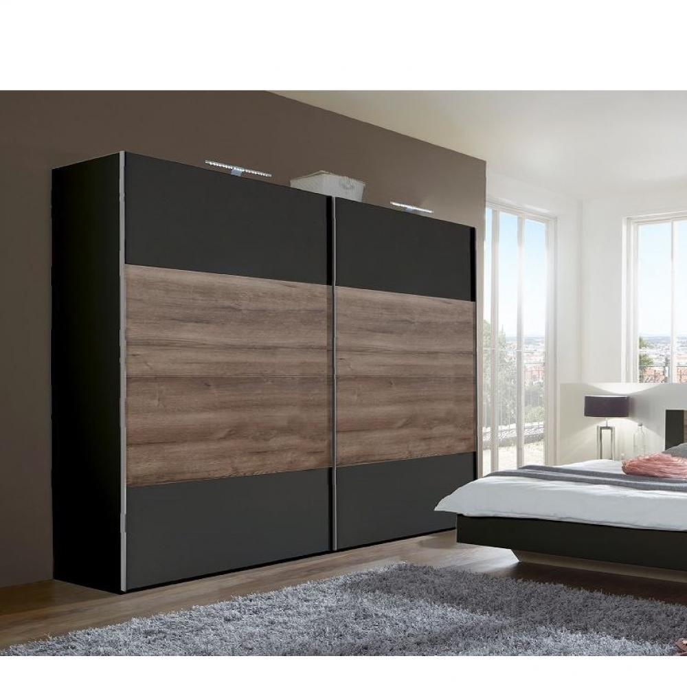 Armoire EVA portes coulissantes largeur 270 cm graphite / chêne châtaigne