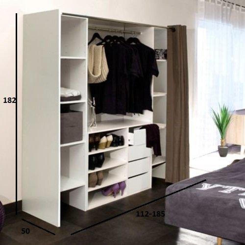dressings et armoires chambre literie dressing extensible chica 2 colonnes 4 tiroirs blanc. Black Bedroom Furniture Sets. Home Design Ideas