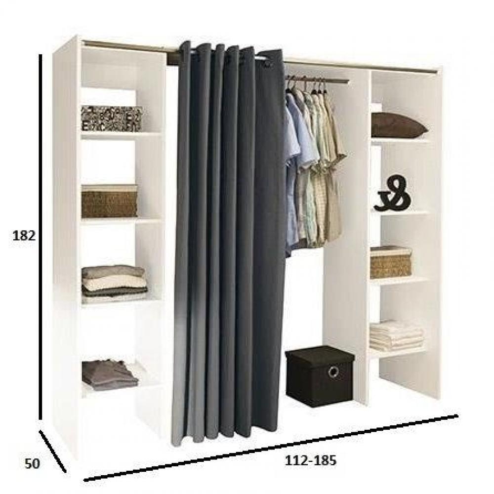 dressings et armoires chambre literie dressing extensible chica 2 colonnes blanc et rideau. Black Bedroom Furniture Sets. Home Design Ideas