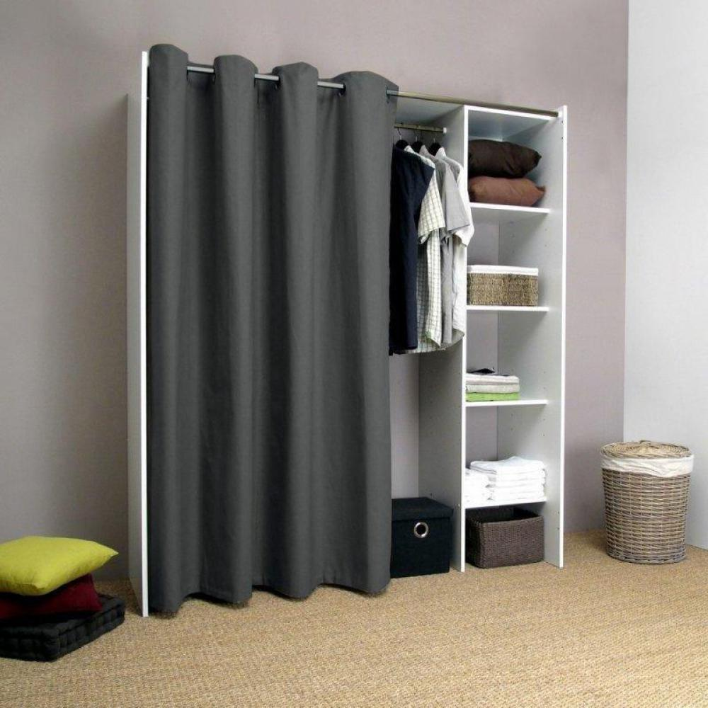 kit dressing avec rideau top armoire dressing extensible santiago gris et blanc with kit. Black Bedroom Furniture Sets. Home Design Ideas