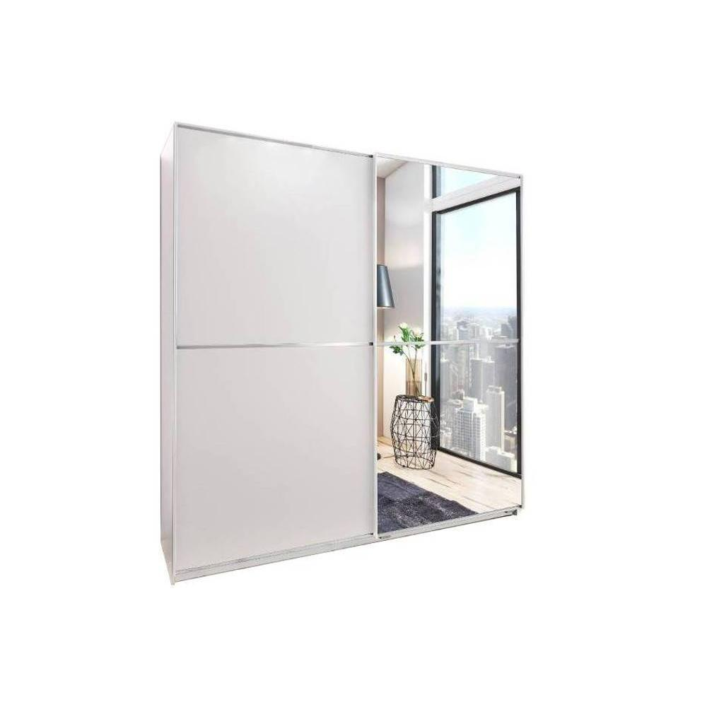 Dressing coulissant HENDRIX 1 porte blanc mat / 1 porte miroir L : 179 cm