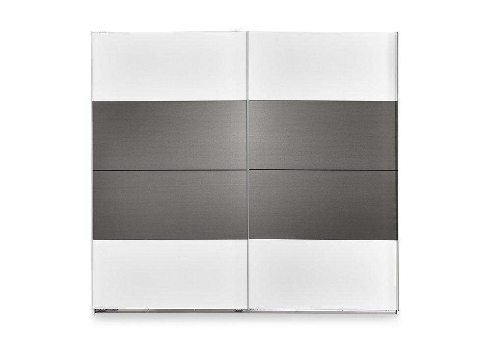 Armoire THALIA portes coulissantes 225 cm blanc / gris graphite