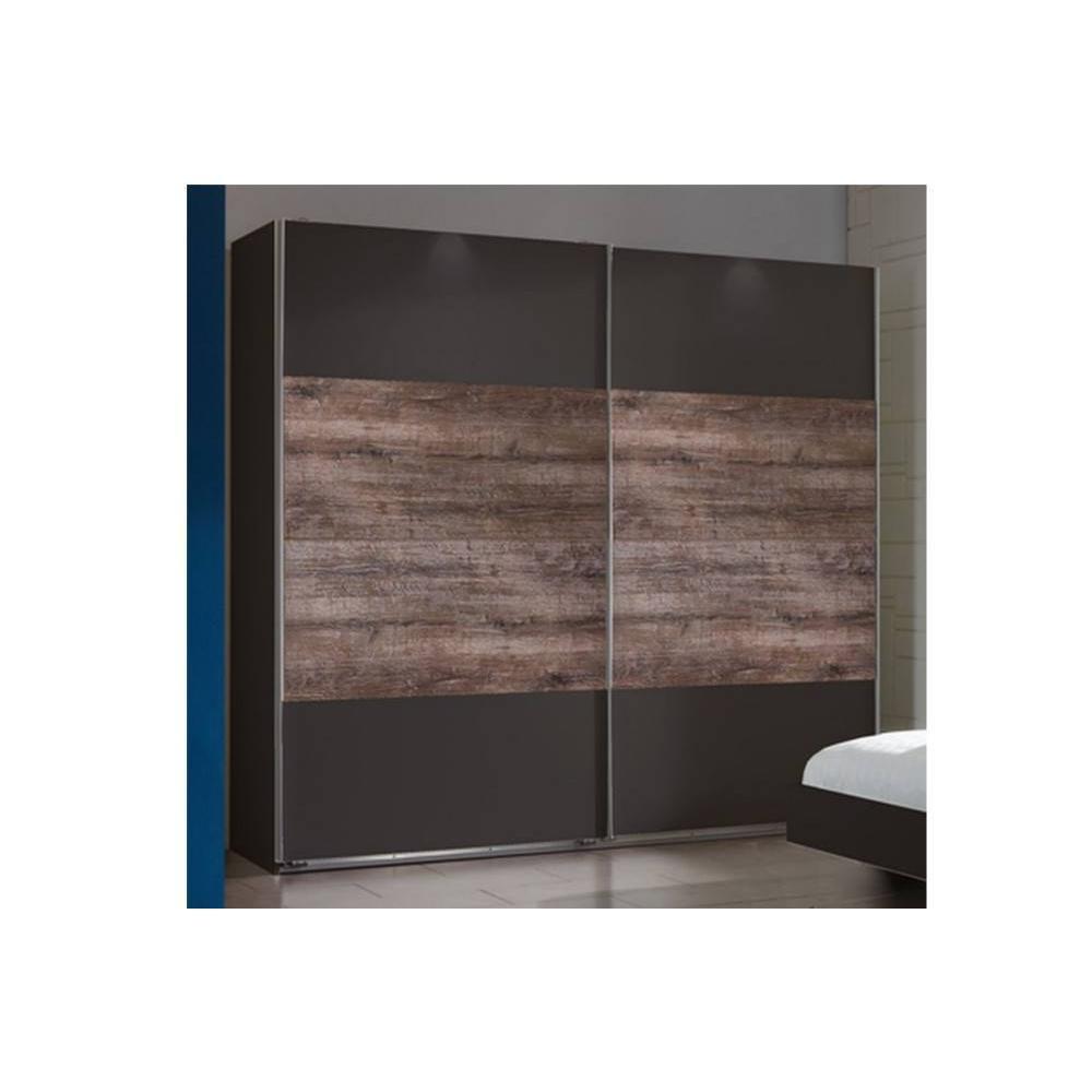 Dressing THALIA à portes coulissantes coloris gris lave et chêne chataigne