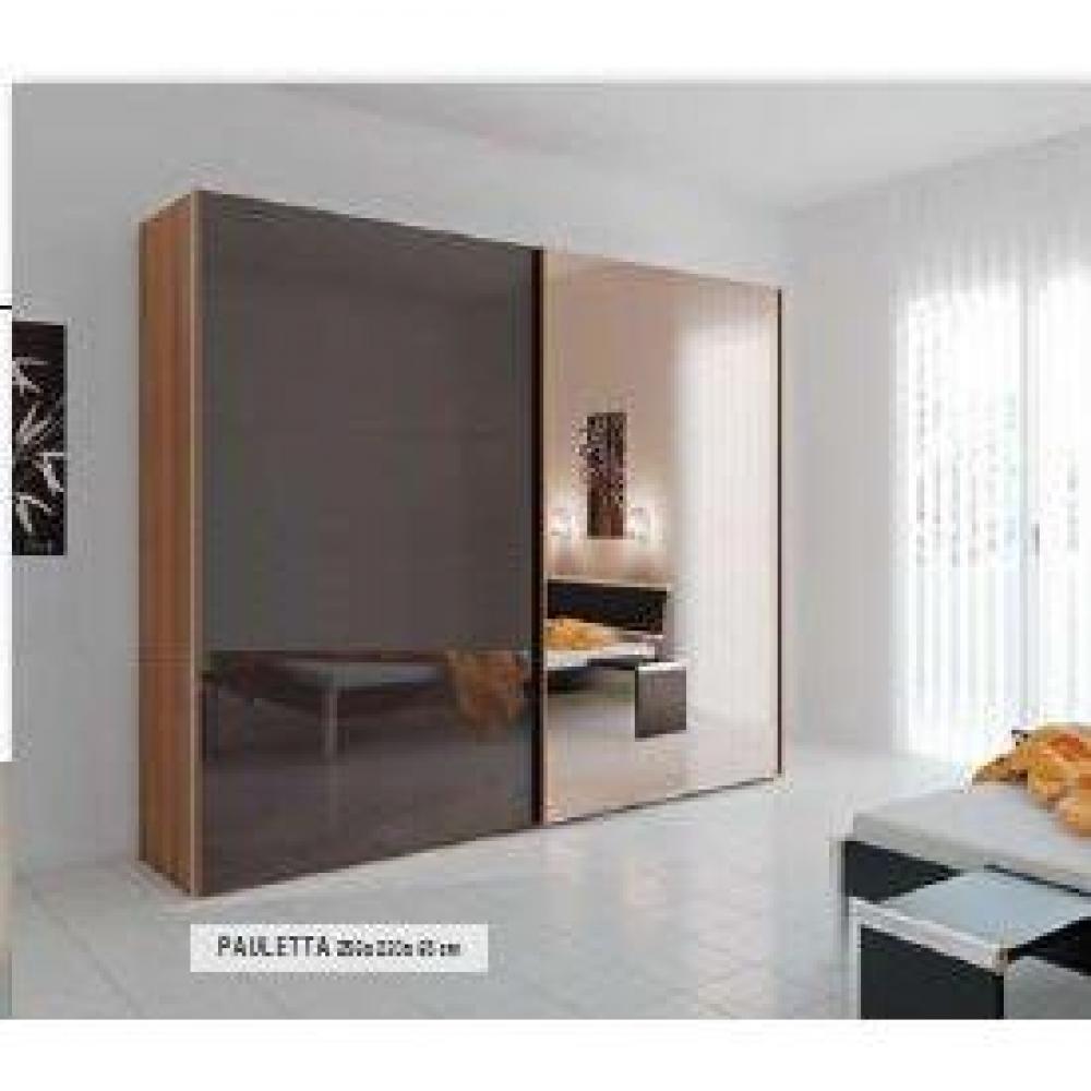 Dressings et armoires meubles et rangements dressing 2 portes coulissantes 1 porte verre laqu for Miroir teinte design
