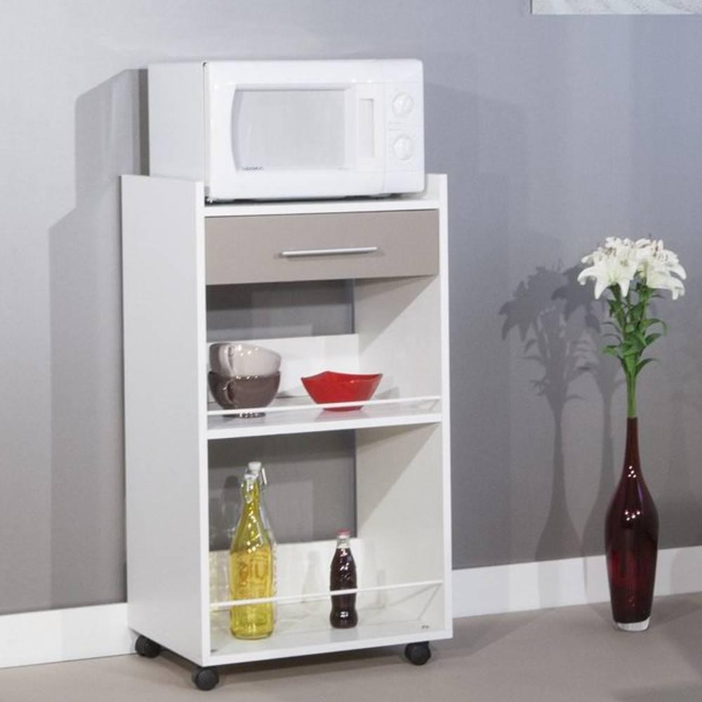 meubles cuisine meubles et rangements dune desserte de cuisine sur roulettes blanche et taupe. Black Bedroom Furniture Sets. Home Design Ideas