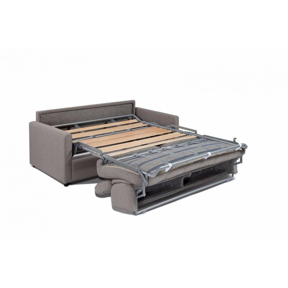 Canapé lit express ECLIPSE ELITE nabucka taupe sommier lattes 140cm assises et matelas mémoire de forme